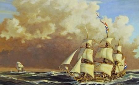 De 'Delft' voor Scheveningen op 11 oktober 1797 om 07.00 uur, jagend op een onbekende brik, met een schot voor de boeg, waarop de brik de Deense vlag toonde.