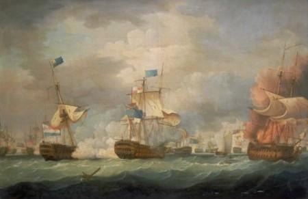 Een schilderij van Sir Thomas Whitcombe met links de Vryheid te herkennen aan de blauwe Admiraalsvlag. Uiterst rechts de onfortuinlijke in brandgeschoten Hercules.