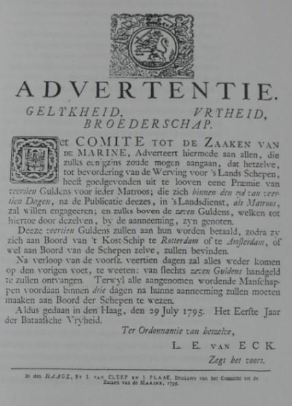 Advertentie Bataafse Marine - werving van matrozen, 1795.