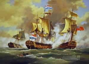 "'s-Lands Schip van Oorlog ""Delft"" - H.M.S. ""Monmouth"" Zeeslag bij Kamperduin - Battle of Camperdown 11 oktober 1797 - Nederlandse Marine - Bataafse Republiek"