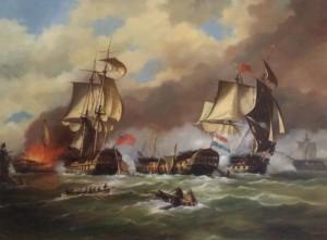 Zeeslag bij Kamperduin 1797 's-Lands Schip van Oorlog Vryheid gedoubleerd door Britse linieschepen en 's-Lands Schip van Oorlog Hercules in brand - geschilderd A. Lourens
