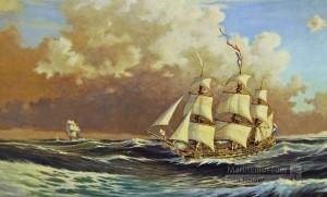 's-Lands schip van Oorlog DELFT 1782-1797 - zeeslag bij Kamperduin - linieschip Delft jaagt op onbekend schip - Bataafse Republiek - Nederlandse Marine - Dutch Navy - Battle of Camperdown