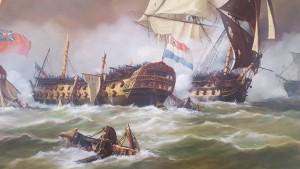 """Zeeslag bij Kamperduin, 1797 - s-Lands Schip van Oorlog """"Vryheid"""", geheel ontmast  - door A. Lourens - detail schilderij Museum De Delft."""