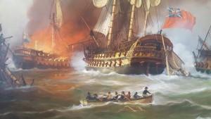 Zeeslag bij Kamperduin, 1797 - s-Lands Schip van Oorlog Hercules in gevecht (in brand)  - door A. Lourens - detail schilderij Museum De Delft.