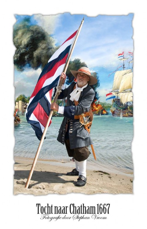 Tocht naar Chatham 1667 - Raid on the Medway - Korps Mariniers - Dutch Marines - Equipage De Delft re-enactment - Marine - Dutch Navy - Officier der Mariniers met Dubbelde Prinsenvlag