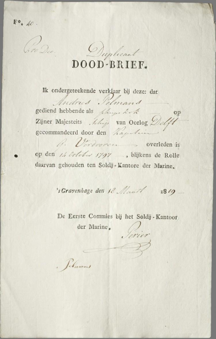 Doodsbericht Andries Pelmans Eerste Scheepskok s-Lands Schip van Oorlog Delft - Zeeslag bij Kamperduin 1797 - Marine Nederland