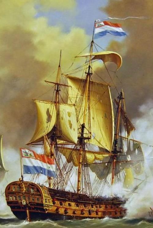 s-Lands Schip van Oorlog Delft - Zeeslag bij Kamperduin 1797 - Bataafse Republiek - Marine Nederland