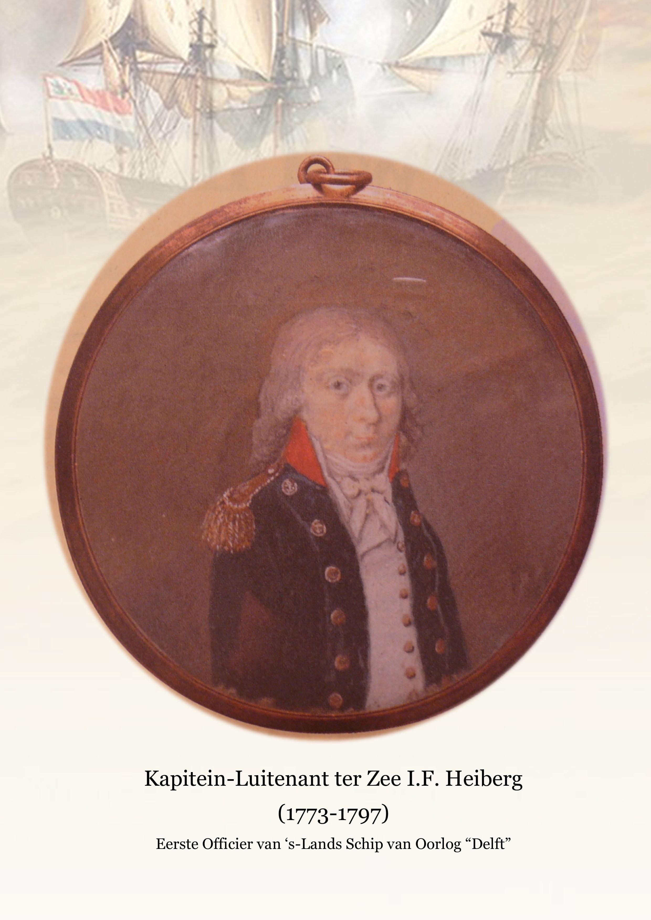Medaillon KLtZ IF Heiberg Eerste Officier s Lands Schip van Oorlog Delft - Zeeslag bij Kamperduin 1797 Marine Bataafse Republiek - Equipage De Delft Hellevoetsluis